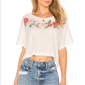 Wildfox NEW Get Lei'd Tee Floral S Boxy White